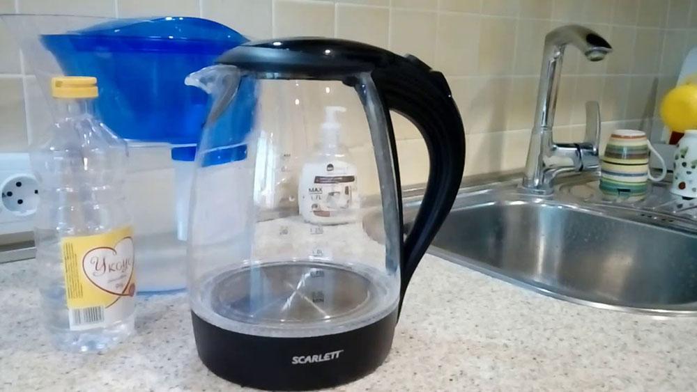 Прокипятить чайник с уксусом